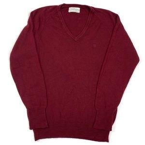 Vintage Christian Dior Burgundy V-Neck Sweater M